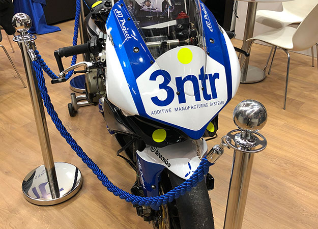 A motorcycle featuring 3D printed parts from 3NTR at Formnext 2019